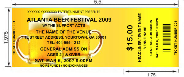 customized tickets for beer festivals same day shipping by