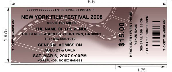 customized film movie tickets printed and shipped today by