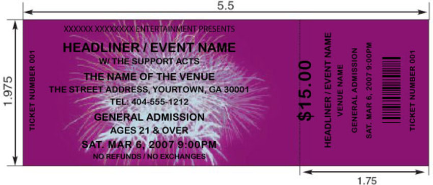 ... Purple Fireworks Tickets 2. Our Purple Colored Custom Fireworks Ticket  Template ...  Make Your Own Tickets Template