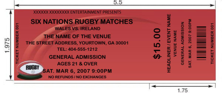 ... Rugby Tickets 2. Our Custom Rugby Ticket Templates ...  Print Your Own Tickets Template Free