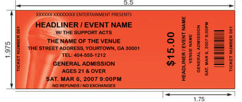 sample event tickets template .