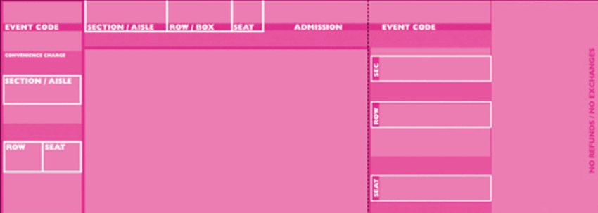 Pink 'official' style tickets