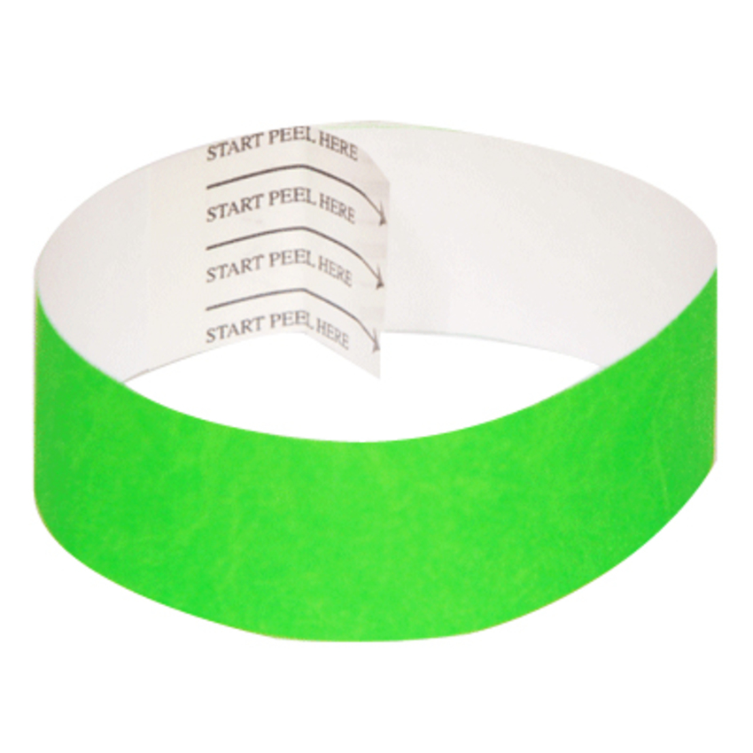 Green Tab-free Tyvek Wristbands