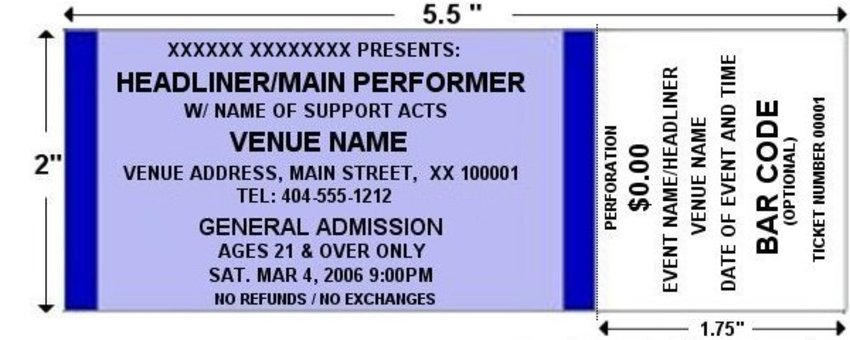 Orange Standard Horizontal Tickets – Admission Ticket Template