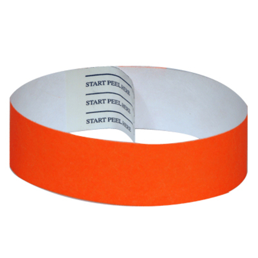 Orange Tab-free Tyvek Wristbands