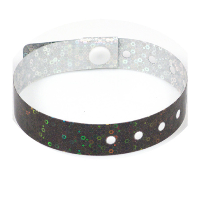 500 Black Holographic Plastic Wristbands