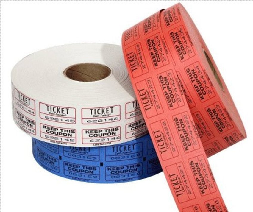 200 Double-roll raffle tickets (50/50 tickets).