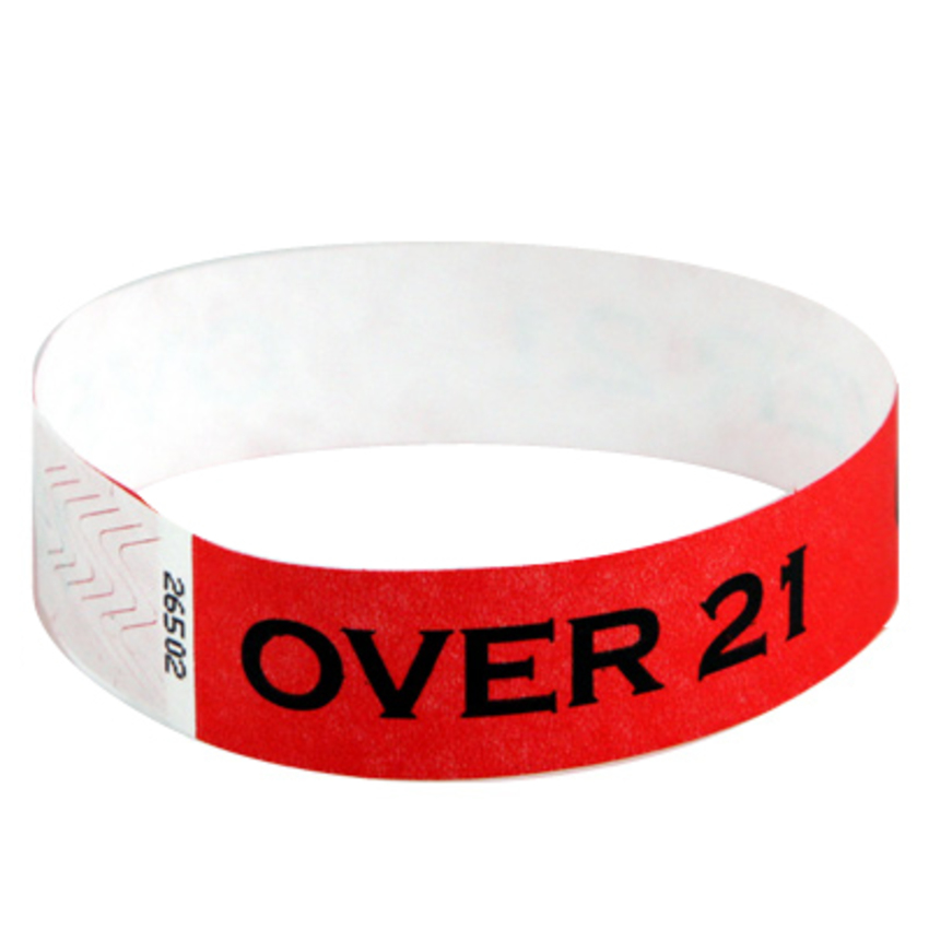 Bright red Tyvek event wristbands with 'Over 21' printed on them