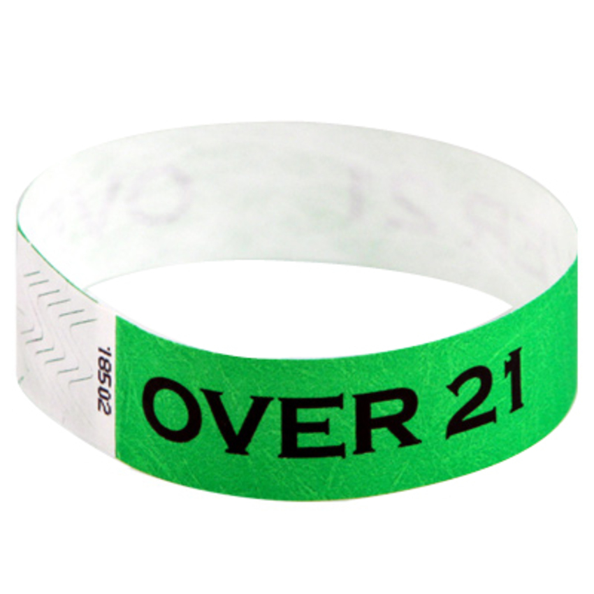 Neon Green Tyvek event wristbands with 'Over 21' printed on them