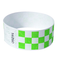 "1"" Green Checker Tyvek wristbands"