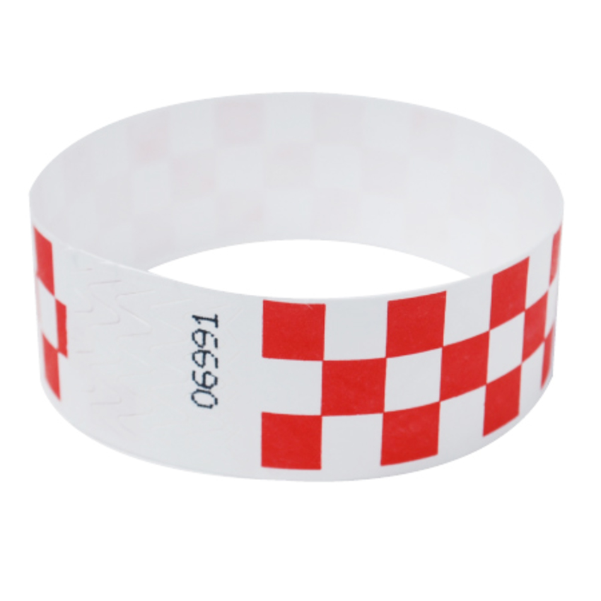 1 Inch Red Checker Tyvek Wristbands