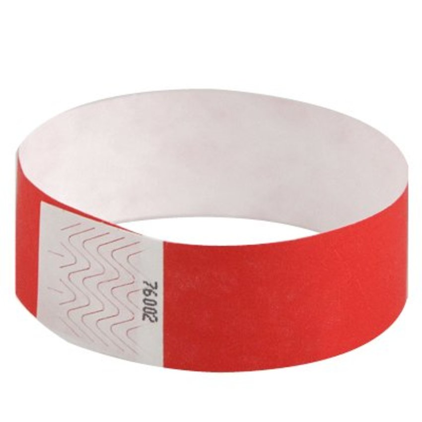 "1"" Bright Red Tyvek Wristbands"