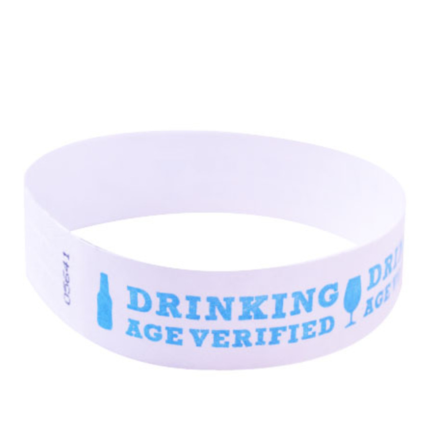 Neon Blue Drinking Age Verified Tyvek Wristbands