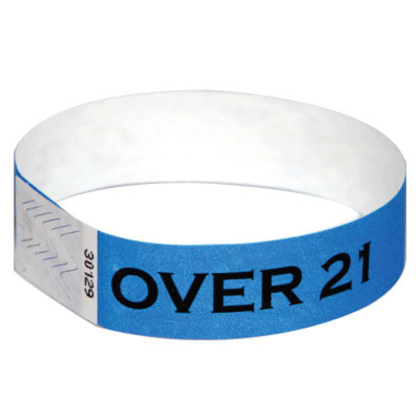 Blue Over 21 Tyvek Wristbands