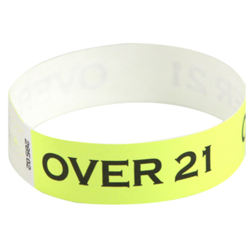 Neon Yellow Tyvek wristbands with 'Over 21' printed on them