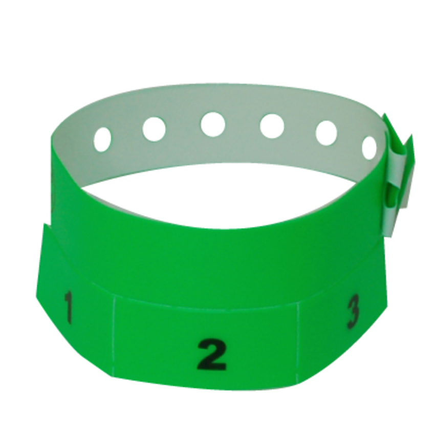 Neon Green Tear-Off 3-Tab Plastic Event Wristbands
