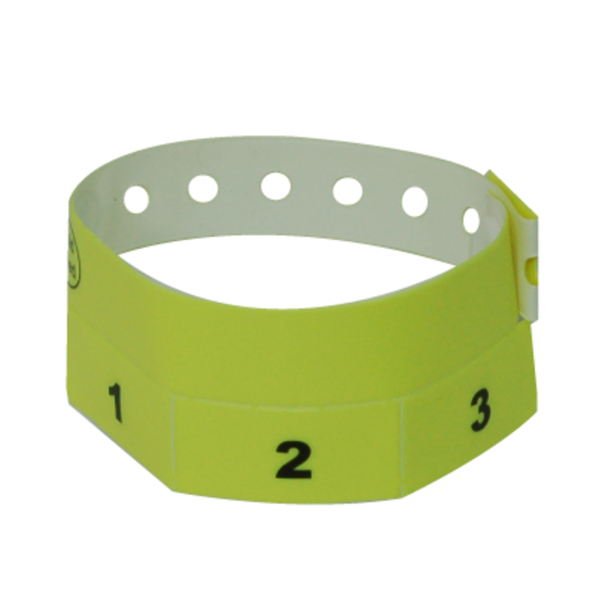 500 Neon Yellow Tear-Off 3-Tab Plastic Event Wristbands