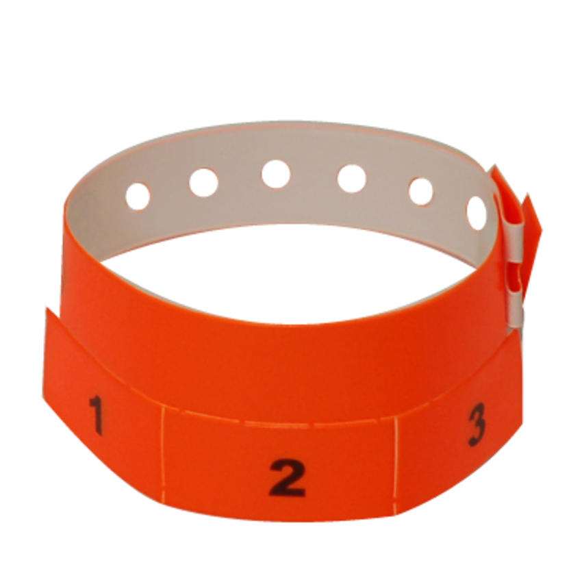 500 Neon Orange Tear-Off 3-Tab Plastic Event Wristbands