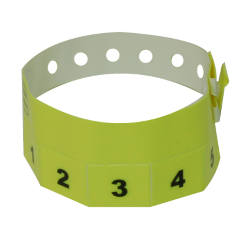 500 Neon Yellow Tear-Off 5-Tab Plastic Event Wristbands