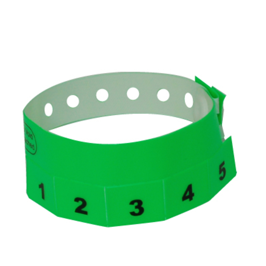 Neon Green Tear-Off 5-Tab Plastic Event Wristbands