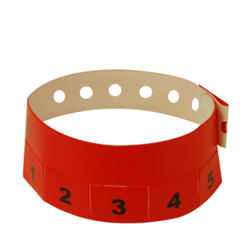 500 Neon Red Tear-Off 5-Tab Plastic Event Wristbands