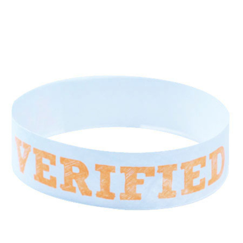 Orange Age Verified Tyvek Wristbands