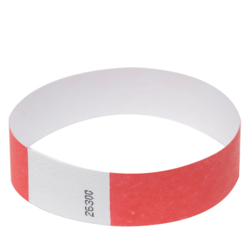 Neon Red Tyvek Event Wristbands