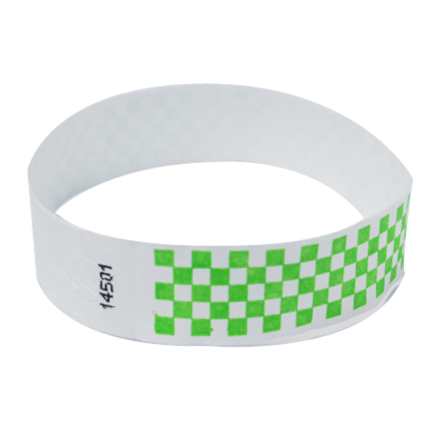 Neon Green Checker Tyvek Event Wristbands