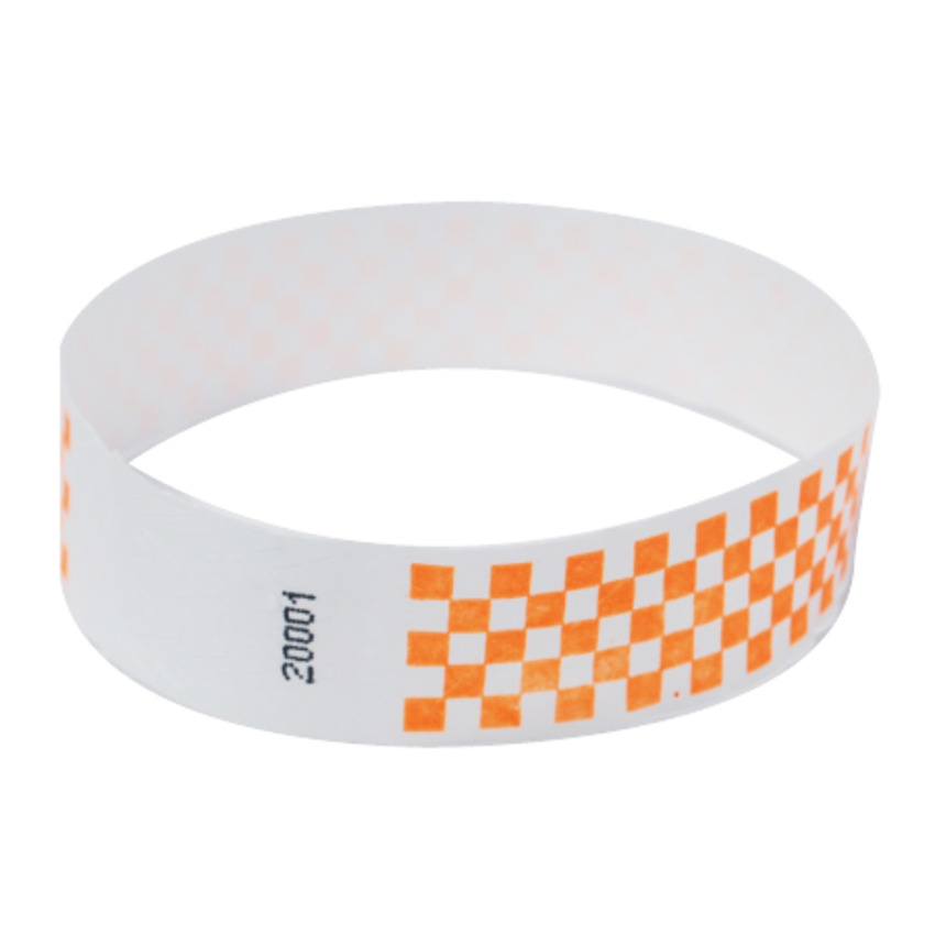 Neon Orange Checker Tyvek Event Wristbands