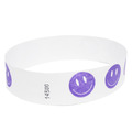 Neon Purple Happy Face Tyvek Event Wristbands