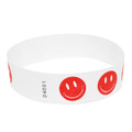 Neon Red Happy Face Tyvek Event Wristbands