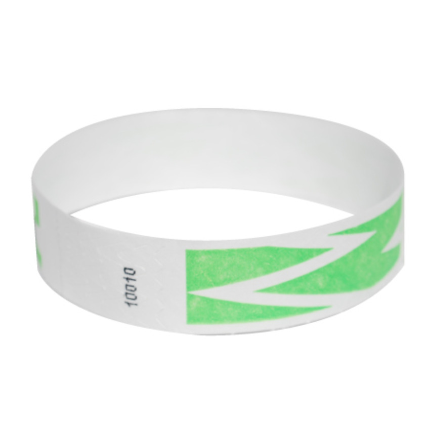 Neon Green ZigZag Tyvek Event Wristbands