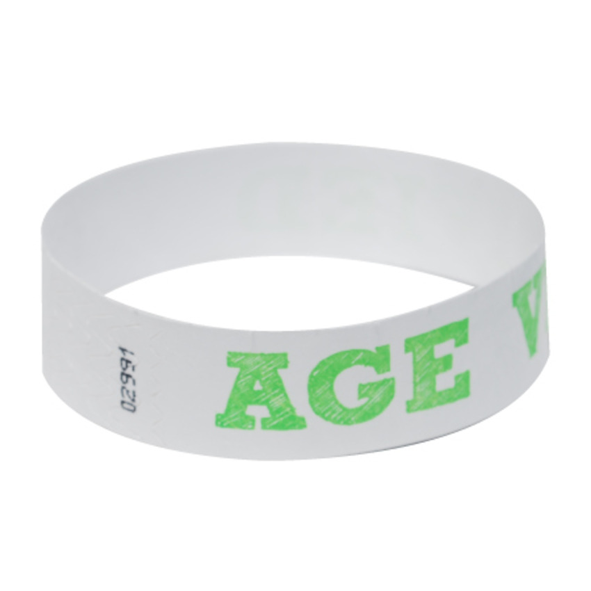 Neon Green Age Verified Tyvek Event Wristbands