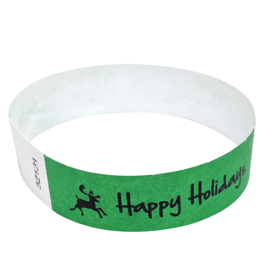 500 Neon Green Happy Holidays Tyvek Wristbands