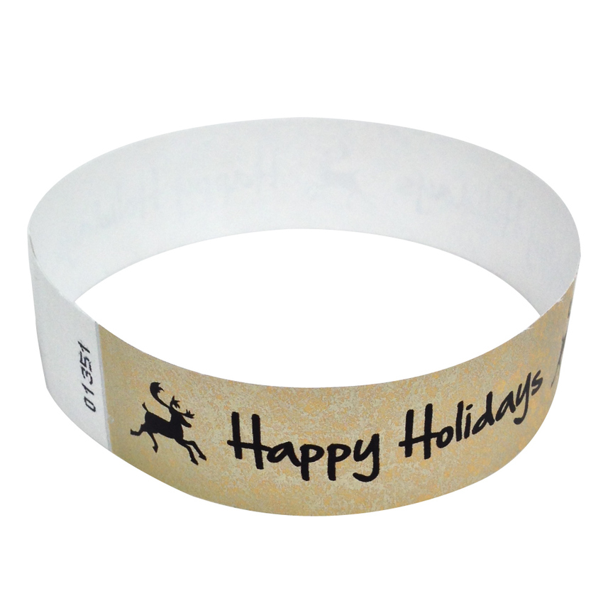 100 Metallic Gold Happy Holidays Tyvek Wristbands