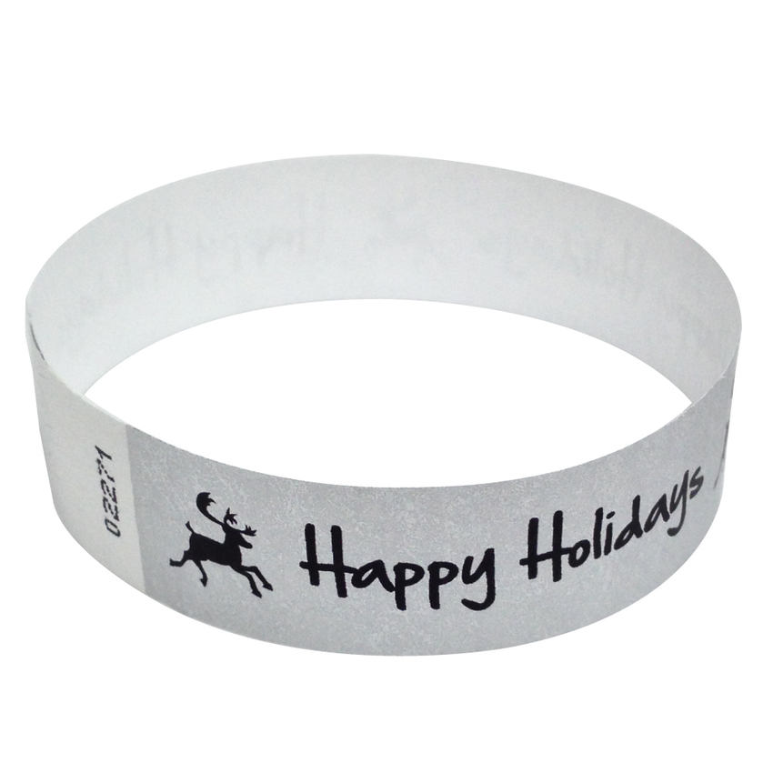 Metallic Silver Happy Holidays Tyvek Wristbands