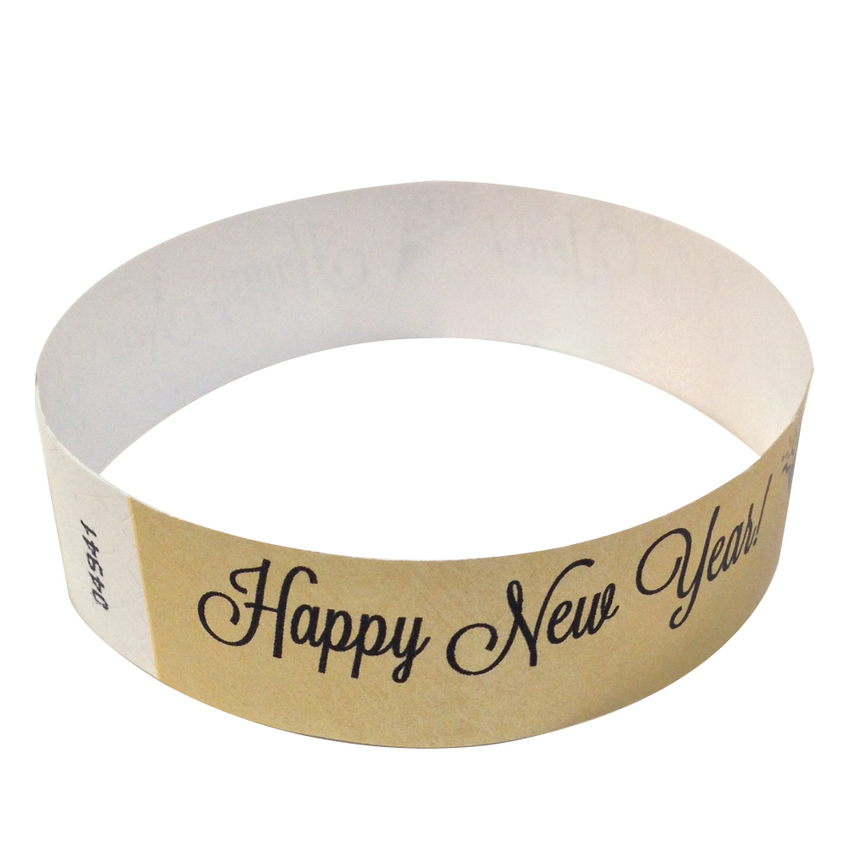 Metallic Gold Happy New Year Tyvek Wristbands