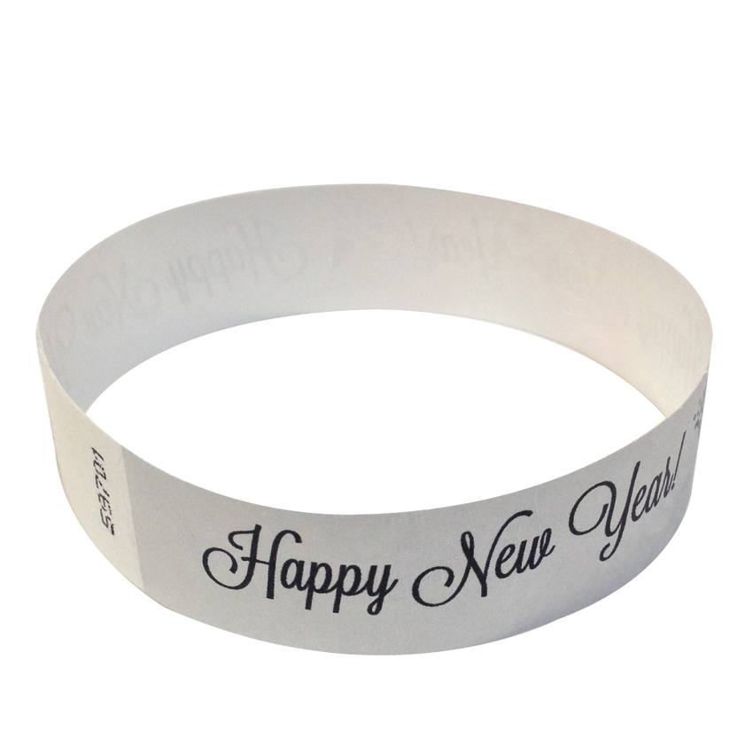 Metallic Silver Happy New Year Tyvek Wristbands