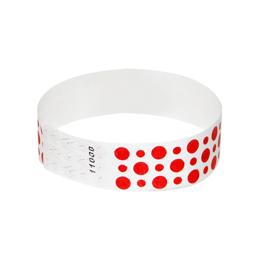 Bright Red Dots Tyvek Wristbands