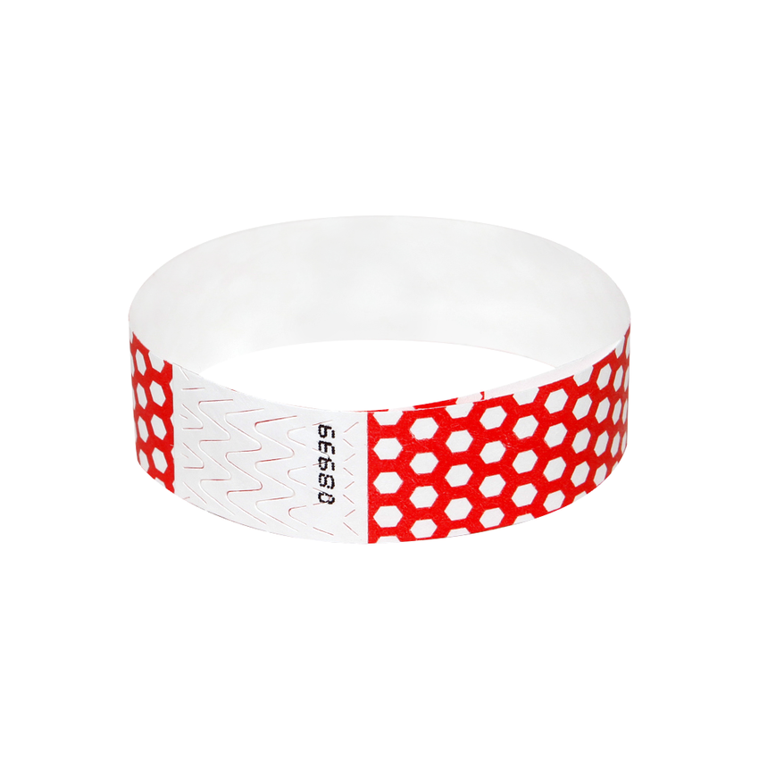 Red Honeycomb Tyvek Wristbands