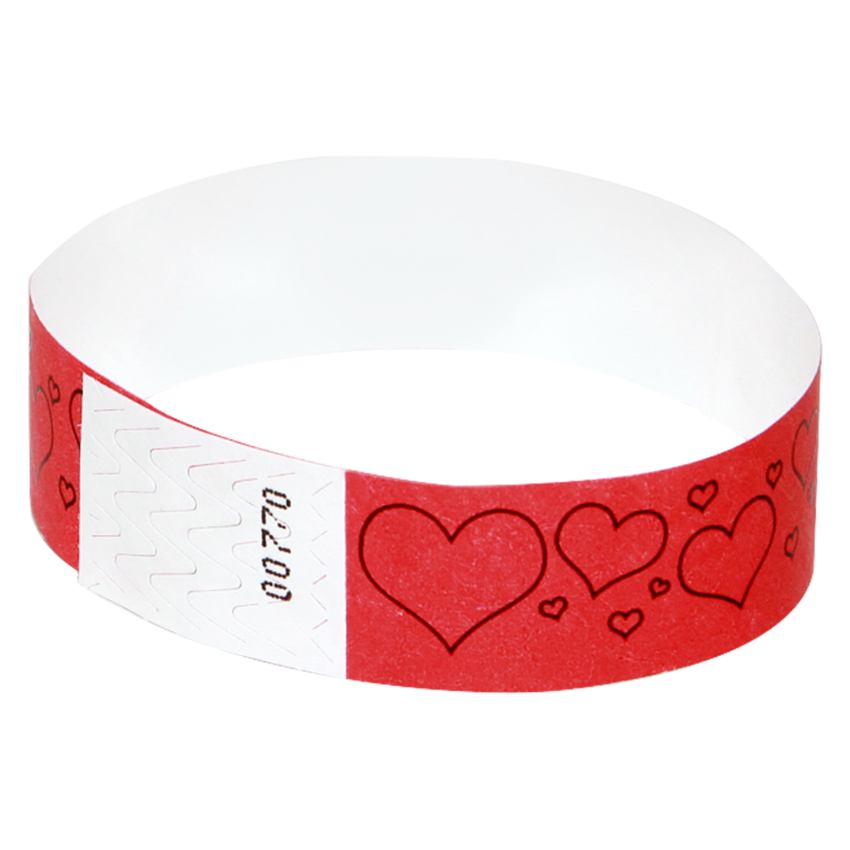 100 Red Hearts Tyvek Wristbands