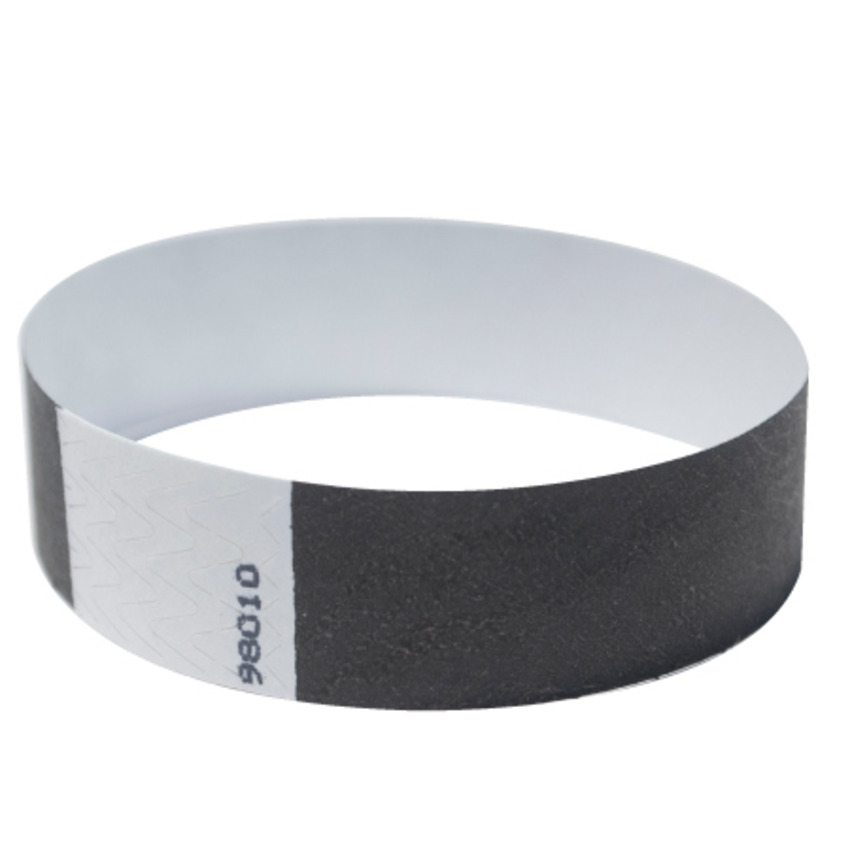 photograph regarding Printable Tyvek Wristbands referred to as 500 Black Tyvek Wristbands by way of FreshTix Ticket Printing