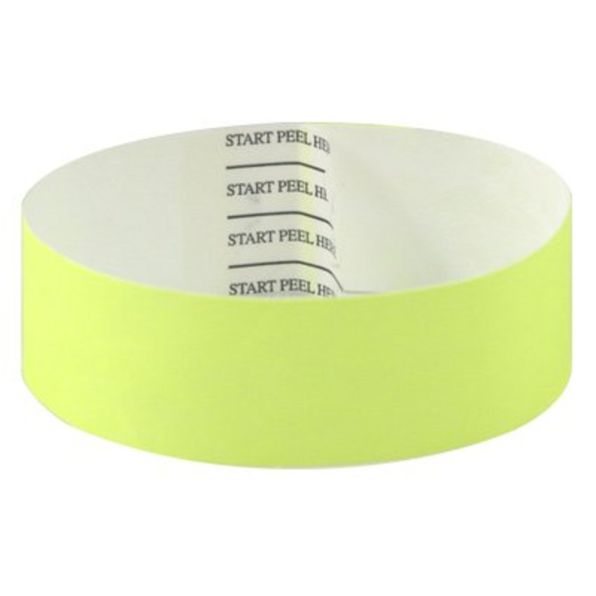Neon Yellow Tab-free Tyvek Wristbands