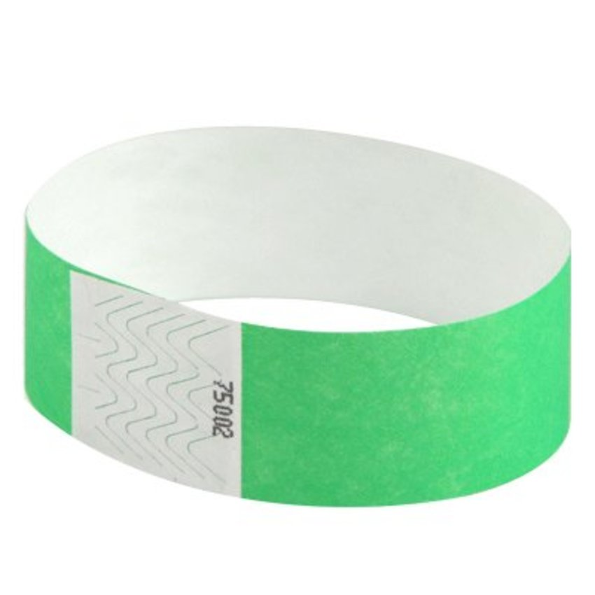 "1"" Neon Green Tyvek Wristbands"