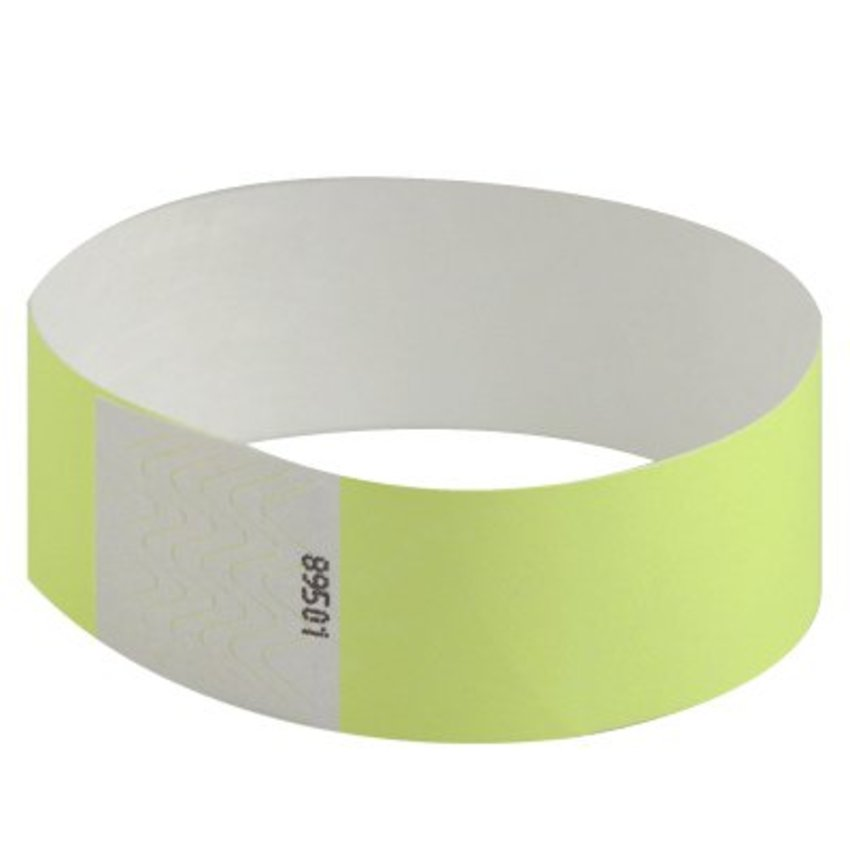 "1"" Neon Yellow Tyvek Wristbands"