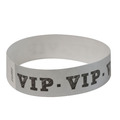 Silver Tyvek event wristbands with V.I.P. printed on them