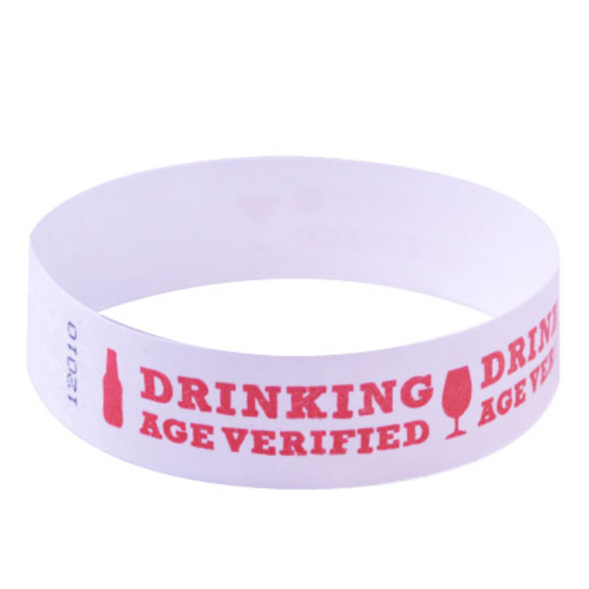 Neon Red Drinking Age Verified Tyvek Wristbands