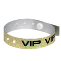Gold Holographic plastic wristbands with V.I.P. printed on them