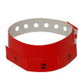 500 Neon Red Tear-Off 3-Tab Plastic Event Wristbands