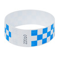 Neon Blue Checker Tyvek Event Wristbands